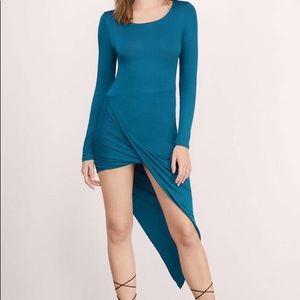 Teal Long Sleeve Draped Asymmetrical Midi Dress